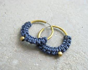 Navy Blue Hoop Earrings . Micro Macrame Jewelry . Modern Fiber Textile Jewelry . Design by .. raïz ..