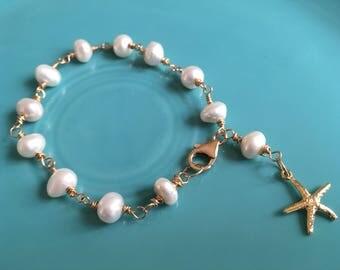 Starfish Bracelet Cream Freshwater Pearl Bracelet 14K GF Lobster Clasp, 24K Vermeil Sea Star Charm Bracelet Beach Wedding