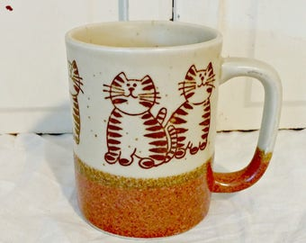 Vintage Stoneware Coffee Mug with Cats