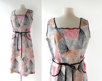 Vintage 60s Sundress | Futurism | Abstract Print Dress | 1960s Dress | Large L