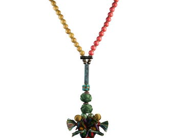 SOLD One of a Kind Afrika Afrika Two Tiny Giraffes Necklace with Jackwood and Coral Natural Wood Beads