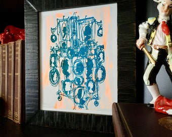CAMEOS #015   quirky mod Victorian silhouettes in teal and neon orange, handmade art print (8x10)