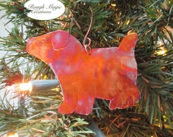 Puppy Dog Christmas Ornament, Colorful Copper Holiday Decoration, Gift for Dog Lover, Personalized Pet Memorial for Doggie Owner Knob Hanger