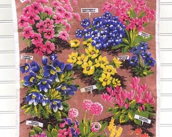 Vintage 1960s Alpine Flowers Linen Towel by Ulster, Irish Linen, Wild Flowers, Garden Flowers, Midcentury Botanical Tea Towel