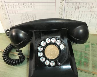 Vintage Western Electric Black Rotary Phone TELEPHONE F1W- Dial Desktop Phone 1940's Office Decor- Theatre Prop