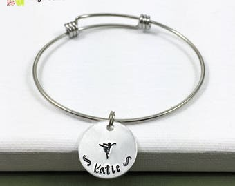Personalized Ballet Bracelet, Personalized Dance Necklace, Custom Dance Jewelry, Name Charm, Gift for Dancer, Contemporary Dance Gift