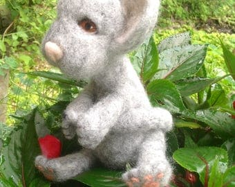 Felted Wool Sculpture Baby Mouse or Adult Mouse Felted Miniature Mouse Wool Sculpture