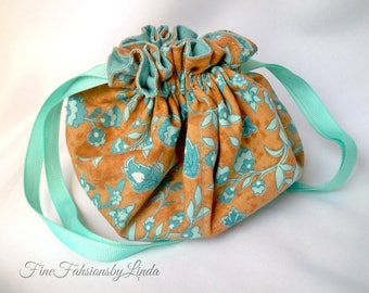 Jewelry Bag Organizer, Small Plus Size, Double Pockets, Cotton Fabric, Flower Pattern Pouch, Aqua and Copper