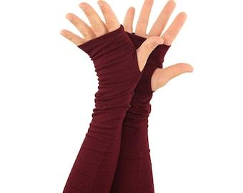 Arm Warmers in Merlot - Burgundy Wine Maroon - Fingerless Gloves - Sleeves