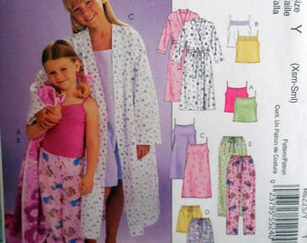 McCall's 6225 - Easy Sew Girls' Pajamas, PJs, Sleepwear, Robe, Nightgown, Family Pajamas - CUTE Gift Idea, Size XS - Sm - DIY
