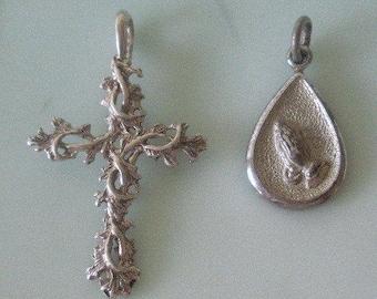 "Vintage Sterling Silver Cross Pendant Pretty Floral Vine & Sterling Silver Praying Hands w/ ""God Answers Prayer"" on Reverse Pendant/Charm"