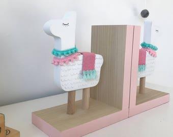 Llama Bookends, Llama Nursery Decor, Llama Kids Decor, Colorful Llama, Llama Gifts, Llama Decor , Llama Baby Shower, Llama Baby