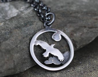 Soaring Eagle Pendant - Sterling Silver Rustic Necklace - Camping and Outdoor - Nature Inspired Jewellery - Flying Bird - Raven
