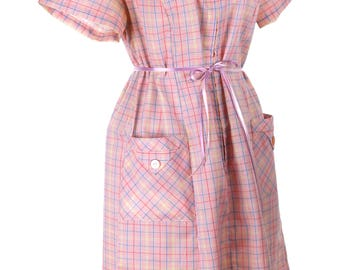 Vintage Pink Plaid Cotton - Plus Size Large - Hattie Leeds Day Dress - Metal Zipper