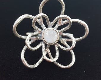Moonstone Flower Sterling Silver Ring, Statement Ring, Cocktail Ring, Size 5, White Semi-Precious Gemstone, Daisy Flower Ring