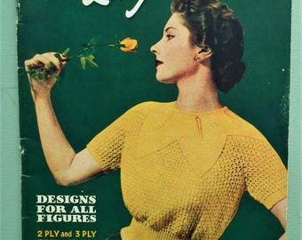 Vintage Knitting Patterns Book 1940s 1950s Women's Lacy Jumpers Sweaters Bestway K127 40s 50s original patterns retro Summer knits booklet