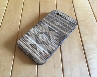Zebrawood iPhone Case with Laser-Etched Navajo Design -  iPhone 7 Case in Wood - Also for iPhone 6S & iPhone 6 - Flapjack Folding Style