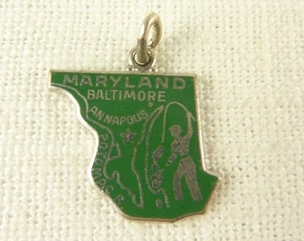 Vintage Wells Sterling and Enamel Maryland Charm