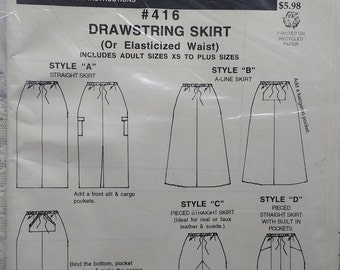 Drawstring Skirt or Elastic Waist Skirt Pattern #416 Macphee Pattern Skirt Pattern with 4 Styles Adult sizes small to Plus size L4