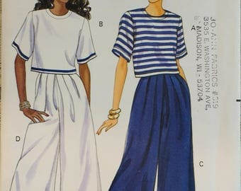 Butterick 5363 Misses Loose Fitting Pullover Top, Wide Leg Split Skirt Pattern- Fast and Easy  Misses Size 12 14 16