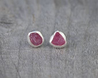 Raw Spinel Earring Studs, Spinel Wedding Gift, August Birthstone, Handmade In England