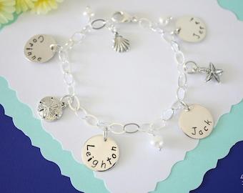 Personalized Mother Bracelet, Children Name Charms, Mom Bracelet, Grandma Bracelet, Pearl, Monogram Bracelet, Sterling Silver