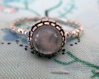 RING  - MOONSTONE  -CARVED Band - 925 - Sterling Silver - size 6 1/4  opal 473