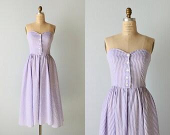 Vintage Strapless Sundress / 1980s Cotton Strapless Striped Dress Size S / Full Skirt Pockets