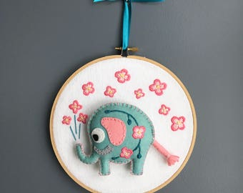 Embroidery hoop wall hanging, elephant hoop flower embroidery, elephant nursery decor, icy blue coral pink, hand sewn, HibouDesigns, OOAK