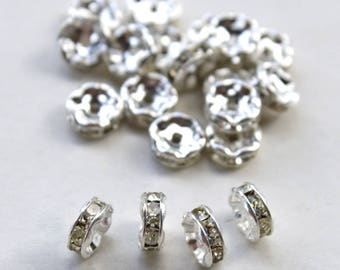 6mm, Crystal Rondelles, Czech Crystal Rondelle Beads, Silver Preciosa Spacer Beads, Silver Plated Rondelles, 6mm, 20 Pcs