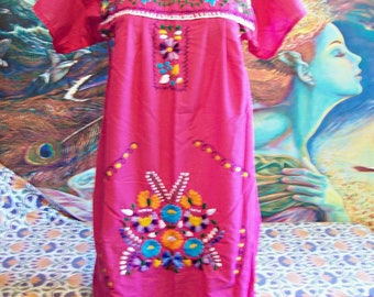 Mexican Dress, Rose, Pink Mexican dress, Cotton, Frida Kahlo, size S