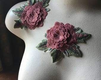 2 3D Rose Appliques Rose for Garments, Costume Design CA 830rose