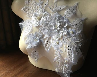 WHITE 3D Applique , Rhinestones & Pearls for Bridal, Lyrical Dance, Ballet, Couture Gowns F18-1