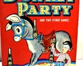 1940s Whitman Donkey Party Pin The Tail, Original in Box, Great Condition, All Pieces Lightly Used, Children's Party Game