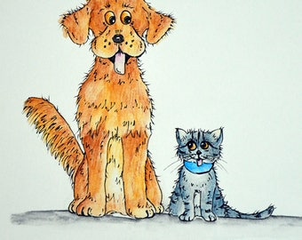 BEST Friends, A4 Matted Print,  Original Illustration Print