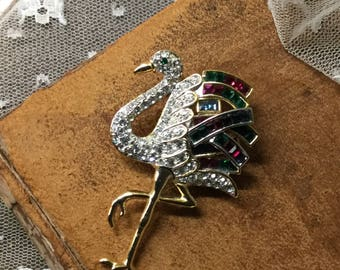 Stunning Pave Baguette Rhinestone Gold Tone Flamingo Brooch Pin Unsigned Reproduction Duchess of Windsor Cartier Jewelry Repaired