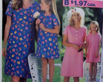 Mommy and Me Summer Dresses Simplicity 0630 Sewing Pattern Easy to Sew Short Sleeve  A-Line Dress Plus Size 12 - 20, Girl's 3-8 UNCUT