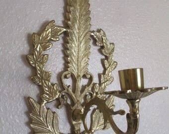 Vintage Brass Sconce Feather Leaves Wall Mount Taper Candle Holder Hollywood Regency Decor