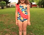 Sash Swimsuit/Tankini/Leotard PDF Pattern - Swimwear for girls newborn to 12 years