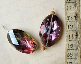 super rare Swarovski oval beads - vintage AB Aurora Borealis vitrail with diamond facet cut - 32mm - 2 beads
