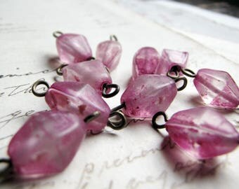 rustic pink glass beads with wire connectors - 1980s India pressed glass