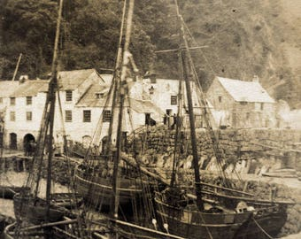 antique seaside photograph - Britton & Sons Barnstaple - 19th century fishing boat photo