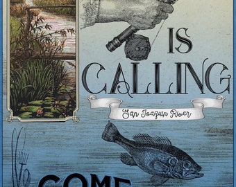 Large Vintage Fishing Poster for Kid's Room