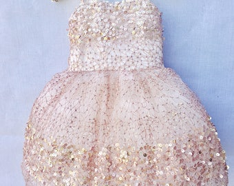 Rose Gold Sequin Flower Girl Dress, The Constellation