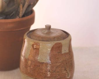 wholesome -- vintage 70s ceramic earthy canister jar