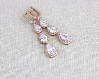 Bridal earrings, Rose gold earrings, Bridal jewelry, Teardrop earrings, Wedding jewelry, Long earrings, CZ earrings, Bridesmaid earrings