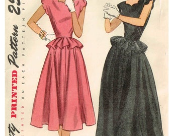 Vintage 1940s Gown Simplicity 2238 Sewing Pattern Scallop Neckline Peplum Waist Gored Skirt Size 12 Bust 30 Cut Complete