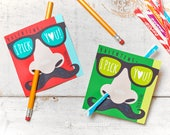 Funny Nose Picking Valentines Classroom Pencil Holder valentines mustache glasses valentine card Valentine's day pixie sticks I pick you