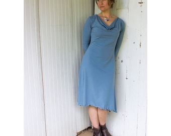 Marietta Dress - Organic Long Sleeve Drape Neck Dress - Organic Cotton Blend - Eco - Made to Order- Business Casual - Choose Your Color