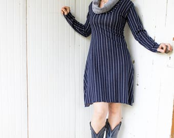 Boston Dress - Vertical Stripe Cowl Neck Dress - Organic Fabric - Made to Order - Bamboo and Organic Cotton - Eco Fashion - Business Casual
